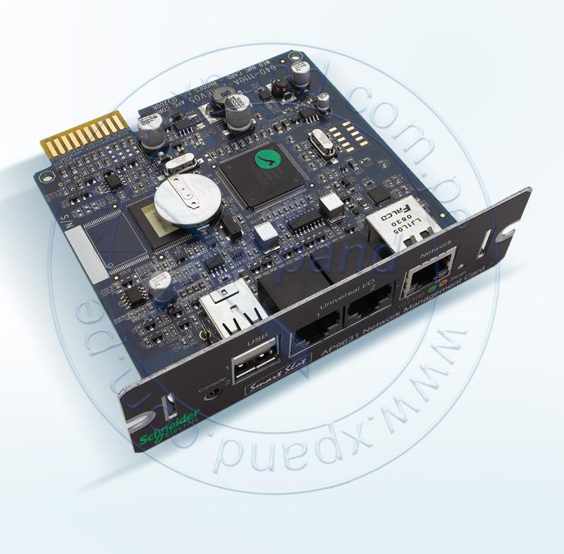 Imagen: Tarjeta controladora de red APC AP9631, interfaz RJ-45 10/100 Mbps, para UPS.