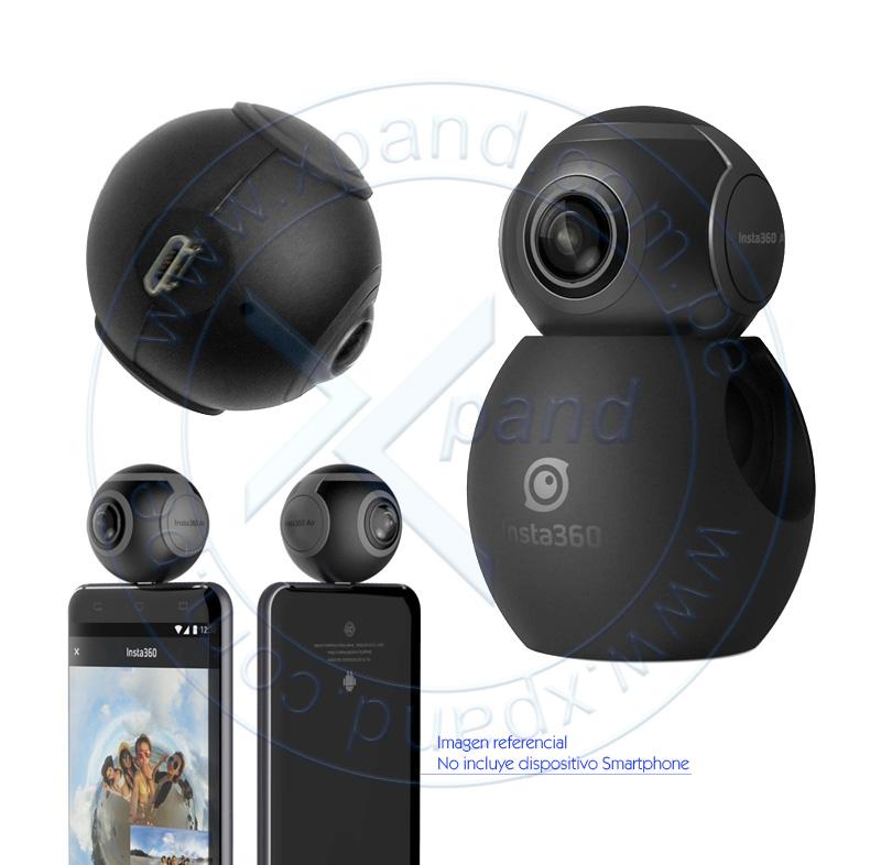 Imagen: Cámara Insta360 Air, 2560x1280 @ 30fps, lente de 360º, conector micro-USB.