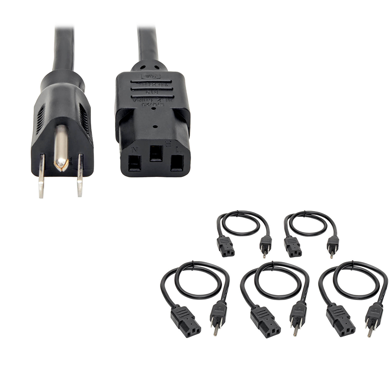 Imagen: Cable de Alimentación para PC, NEMA 5-15P a C13, Paquete de 5, 10A, 125V, 18AWG, 61cm.