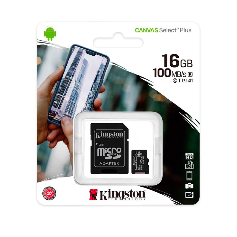 Imagen: Memoria micro-SDHC Kingston Canvas Select, 16GB, UHS-I Speed Class10 (U1) con Adaptador SD