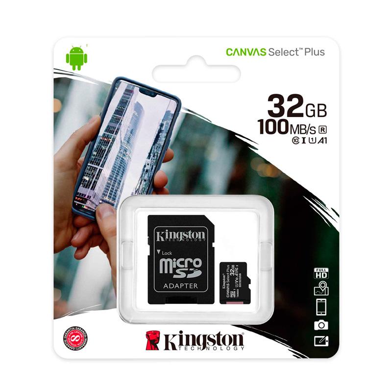 Imagen: Memoria micro-SD Kingston Canvas Select, 32GB, UHS-I Speed Class 1 (U1), con Adaptador SD