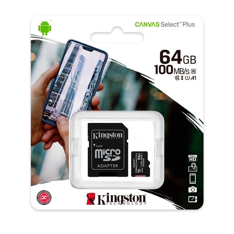 Imagen: Memoria micro-SD Kingston Canvas Select, 64GB, UHS-I Speed Class 1 (U1), con Adaptador SD