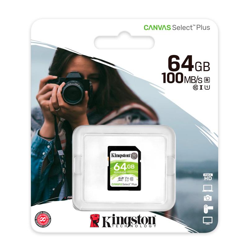 Imagen: Memoria Card SD Kingston Canvas Select Plus, 64 GB, UHS-I Speed Class 1 (U1).