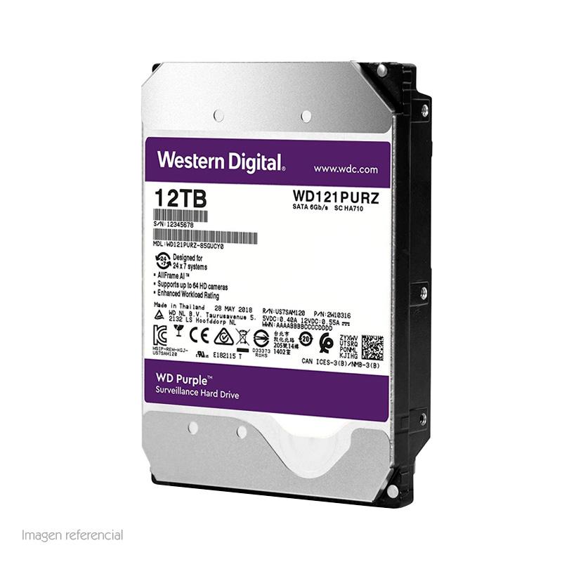 "Imagen: Disco duro Western Digital WD121PURZ, 12TB, SATA 6.0 Gb/s, 7200 RPM, 3.5""."