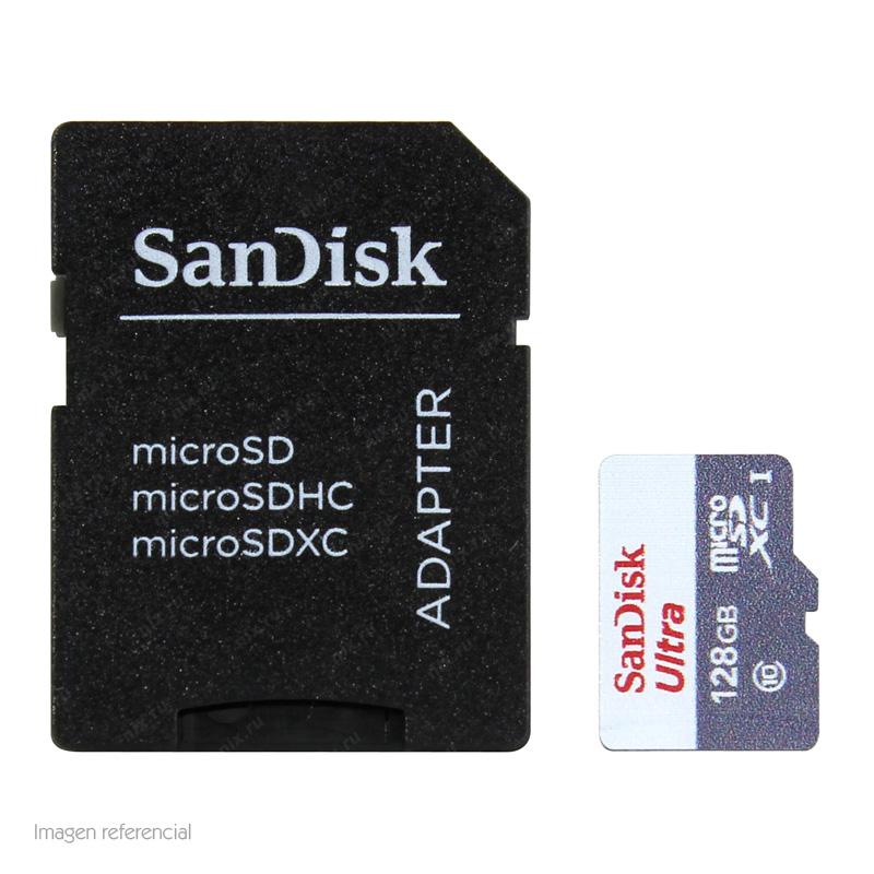 Imagen: Memoria SanDisk Ultra microSDXC, 128GB, UHS-I, con Adaptador SD.