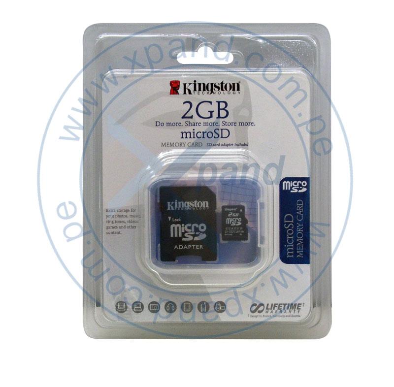 Imagen: Memoria Flash microSD Kingston, 2GB, con adaptador SD, presentación en colgador.