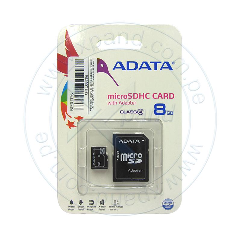 Imagen: Memoria Flash microSDHC ADATA Class4, 8GB, con adaptador SD, presentación en colgador.