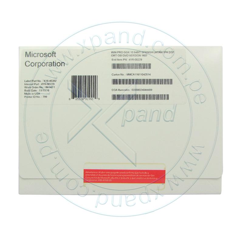 Imagen: Sistema Operativo Microsoft Windows 10 Pro GGK, 64 bits, español, 1pk, DSP OEI DVD 1607.