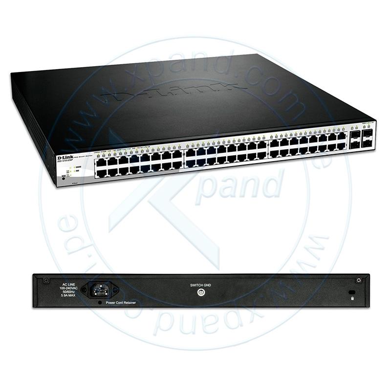 Imagen: Switch D-Link DGS-1210-52MP, 48 LAN GbE PoE, 4 SFP, Capa 2 / 3.