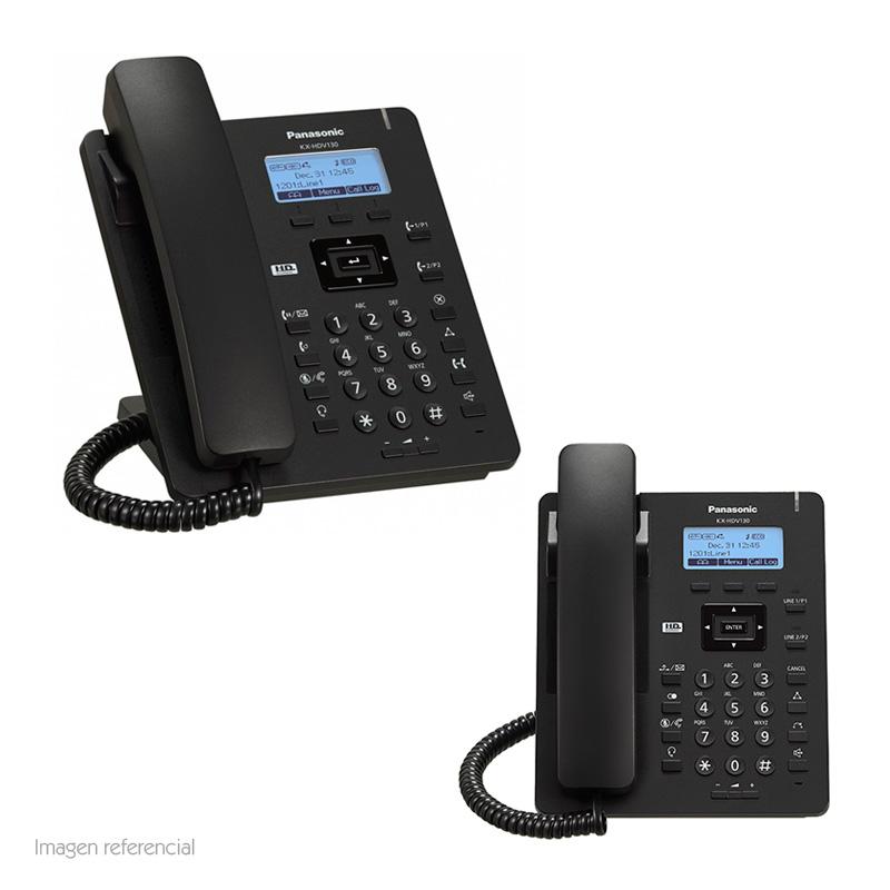 "Imagen: Teléfono IP Panasonic KX-HDV130, 2 cuentas SIP, LCD 2.3"", RJ-45 PoE, Audio HD."