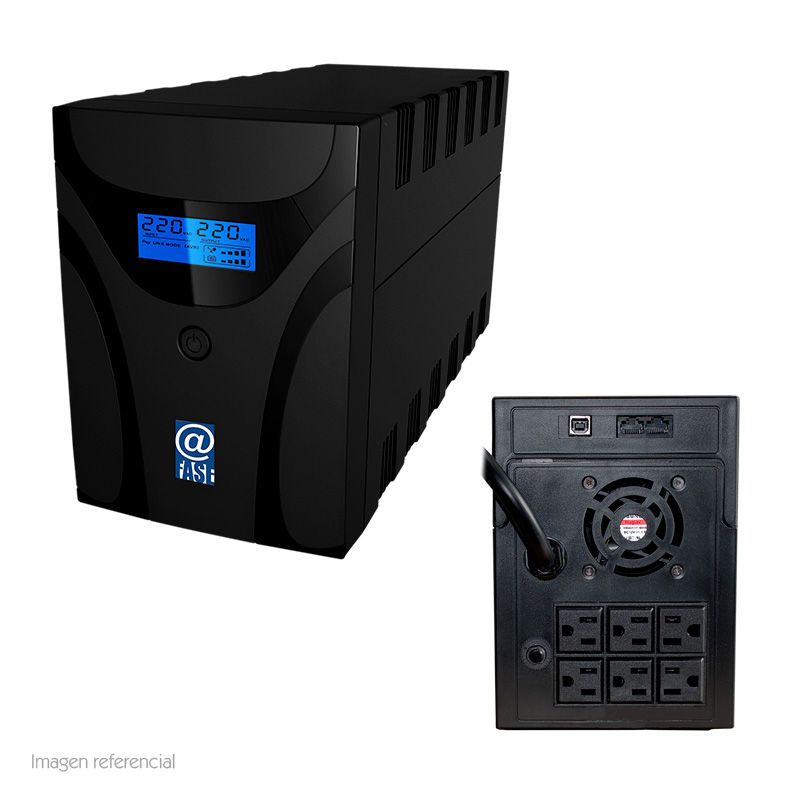Imagen: UPS Elise AUR-1500, interactivo, 1500VA, 1200W, 162~290 VAC, 6 tomas NEMA 5-15R.