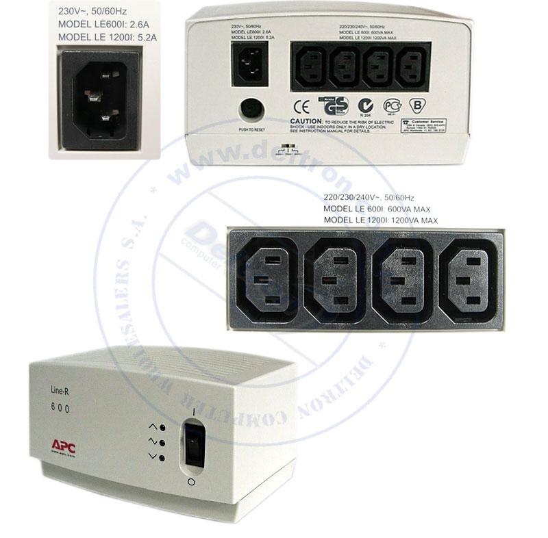 Imagen: Regulador de voltaje APC LE-600I, 600VA, 220V, 4 tomacorrientes C13.