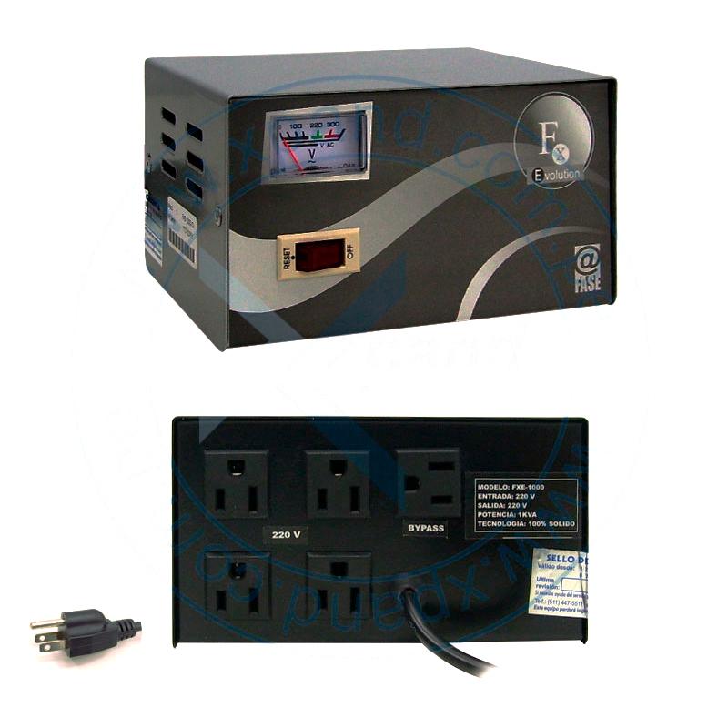 Imagen: Estabilizador Elise - Fase FXE-10, Sólido, 1.0kVA, 4 tomas a 220VAC, 1 toma By-pass.