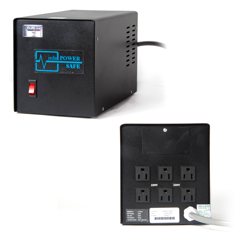 Imagen: Estabilizador Elise Ieda Poder LCR-30, Solido, 3.0KVA, 220v, 6 conectores de salida.
