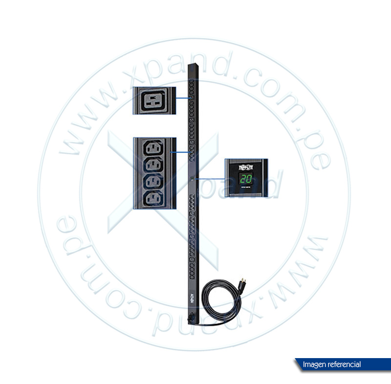 Imagen: Unidad de distribución de energía Tripp-Lite PDUMV20HV, monofásico con medidor digital.