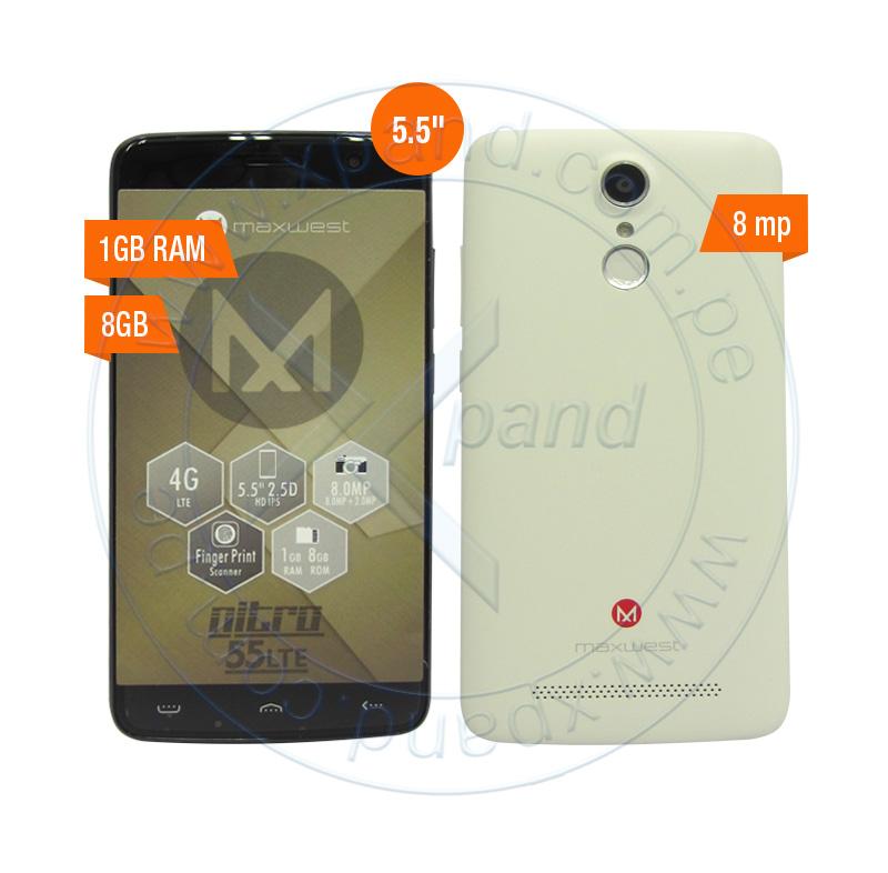 """Imagen: Smartphone MaxWest Nitro 55LTE, 5.5"""" 720x1280, Android 6.0, LTE, Dual SIM, Desbloqueado."""