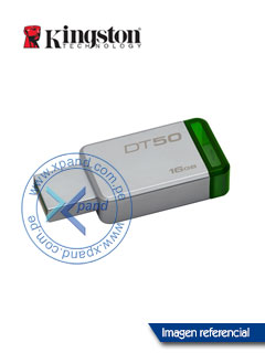 Memoria Flash USB Kingston DataTraveler 50, 16GB, USB 3.1 / 3.0, colgador.