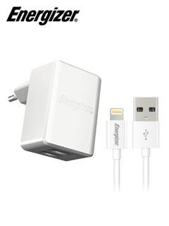 Cargador Viajero Energizer ACW2BEUHMC3, 2 puertos USB 2.0, 5V.