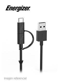 Cable 2 en 1 Energizer HighTech, USB a USB Tipo C / micro-USB, 1.2 mts.