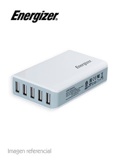 Cargador Smart Multipuerto Energizer HighTech, 5 USB, 100V-240VAC, 40W, 5VDC/2.4A, 1300mA.