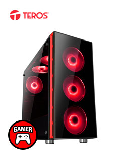 Case Gamer Teros Paraoh, Mid Tower, Negro Mate, USB 3.0, USB 2.0, Audio.