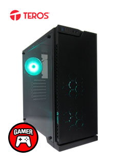 Case Gamer Teros Zafiro, Mid Tower, Negro, USB 3.0, USB 2.0, Audio.