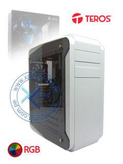 Case Gamer Teros Vertigo, Tower, USB 3.0 / USB 2.0, Audio HD, luces LED RGB, Blanco.