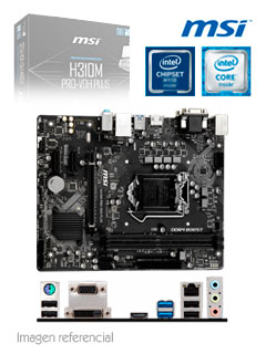 Motherboard MSI H310M PRO-VDH PLUS, LGA1151, H310, DDR4, SATA 6.0, USB 3.1, SN/VD/NW.