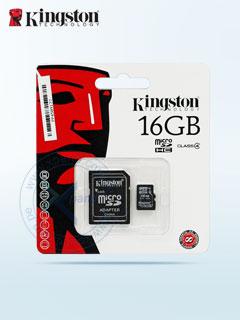 Memoria Flash microSDHC Kingston, 16GB, con adaptador SD, presentación en colgador.