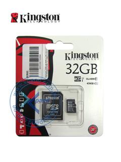 Memoria Flash microSDHC Kingston Class10 UHS-I, 32GB, con adaptador SD, colgador.
