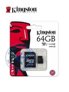 Memoria Flash microSDXC Kingston Class10 UHS-I, 64GB, con adaptador SD, colgador.