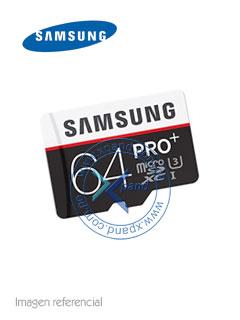 Memoria Samsung MicroSDXC Pro+, 64GB, UHS-I, Grado 3, Clase 10.