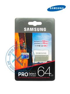 Memoria Samsung MicroSDXC Pro, 64GB, UHS-I, Grado 3, Clase 10, con Adaptador SD.