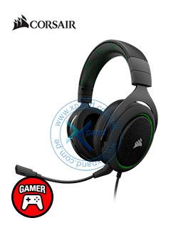 Auriculares Gaming Corsair HS50, micrófono desmontable, 3.5mm, Negro / Verde.