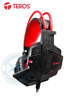 Auriculares Gaming Teros TE-G1500, Estereo, micrófono, 3.5 mm, USB, luz LED.