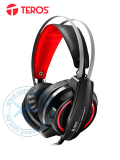 Auriculares Gaming Teros TE-G15, Estereo, micrófono, 3.5 mm, USB, luz LED.