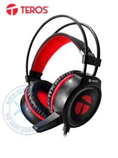 Auriculares Gaming Teros TE-502, Estereo, micrófono, 3.5 mm, USB, luz LED.