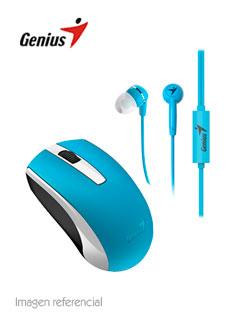 Combo Genius MH-8100, Mouse Inalámbrico, 1600 dpi y Auricular Estereo, 3.5mm, Azul.