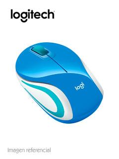 Mini Mouse inalámbrico Logitech M187, 1 000 dpi, 3 botones, Azul, receptor USB, 2.4 GHz.