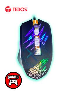 Mouse óptico Gamer Teros TE-4027, 2400 dpi, 6 botones, iluminación Led, USB.