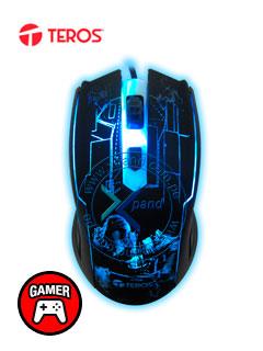 Mouse óptico Gamer Teros TE-G63, 2400 dpi, ergonómico, 4 botones, retor-iluminado, USB.