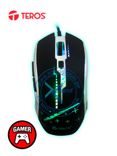 Mouse óptico Gamer Teros TE-G73, 2400 dpi, ergonómico, 6 botones, retor-iluminado, USB.