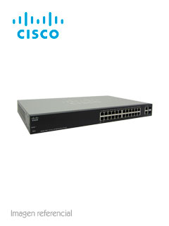 Switch Cisco SF200-24FP, 24 RJ-45 10/100, 2 Combo GbE, PoE, buffer 4MB, 6.55Mpps, 8.8Gbps.
