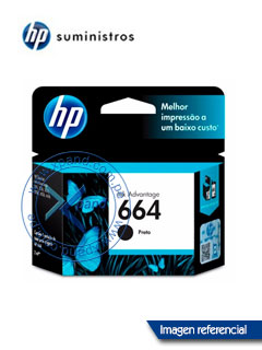 Cartucho de tinta HP 664, negro, caja.