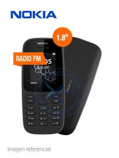 "Teléfono celular Nokia 105 (2017), 1.8"" QQVGA, 120x160 px, 2G, SIM, Desbloqueado."